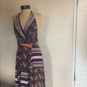Jessica Simpson  Halter Multicolored Maxi Dress S